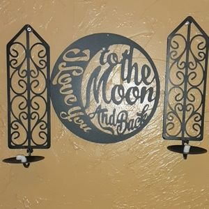 Set of metal wall art 2 candle sconce & moon quote